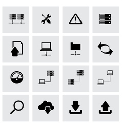 Black ftp icon set vector
