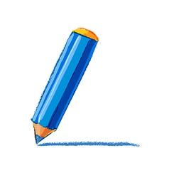 Blue pencil drawing vector image