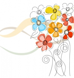 Cute bunch of flowers vector