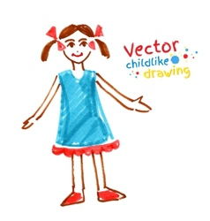Childlike drawing of girl vector