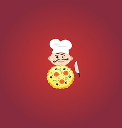 Cook with tasty pizza vector