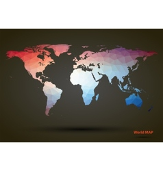 Abstract colorful triangle world map vector