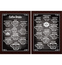 Set of cups with different coffee drinks for vector