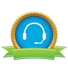 Headset certificate icon vector