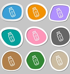 Usb flash drive icon symbols multicolored paper vector