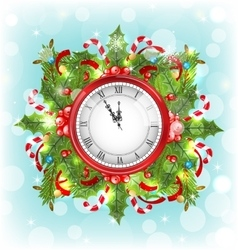 Clock with christmas holiday decoration vector