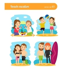 People on beach vacation vector