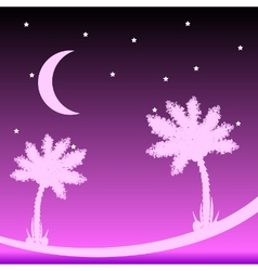 Palm tree at night vector