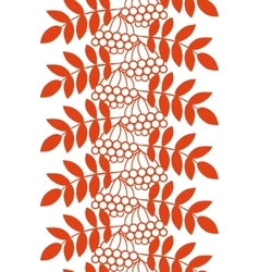 Seamless ashberry autumn pattern with rowan vector