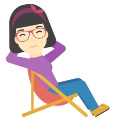 Woman sitting in a folding chair vector