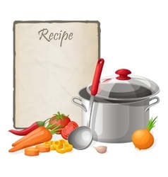 Recipe card kitchen note blank template vector