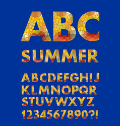 Alphabet in summer colors mosaic texture design vector