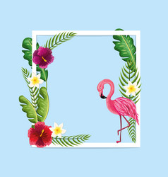 Beauty and cute flowers plants with flamingo vector