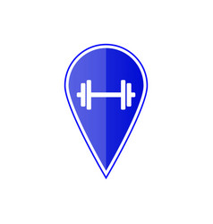 blue map pointer with dumbbell vector image vector image