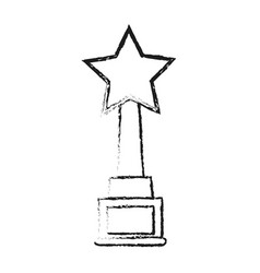 Blurred silhouette trophy with symbol star vector