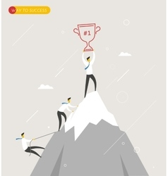 Businessman climbs the mountain cup in hand vector