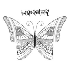 Butterfly zentangle design with lettering vector