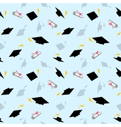 Colored Seamless Pattern with Graduation Caps vector image