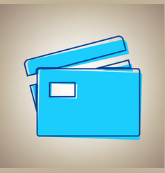 Credit card sign sky blue icon with vector