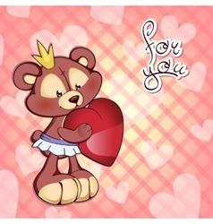 Cute teddy bear in tutu and a vector