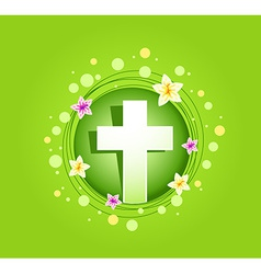 Easter religious cross spring card vector image vector image