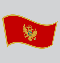 flag of montenegro waving on gray background vector image vector image