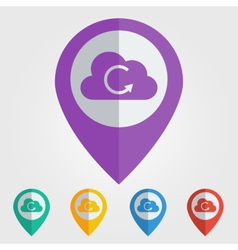 Flat pin with cloud reload icon vector