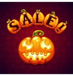 Halloween pumpkin sale banner vector