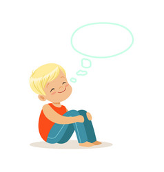 Happy blonde little boy dreaming with a thought vector