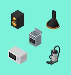 Isometric electronics set of microwave stove vac vector