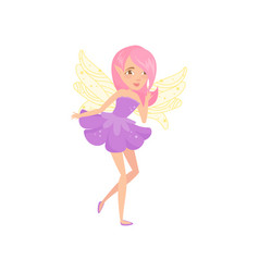 Lovely fairy with wings dressed in little purple vector