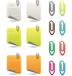 Notepapers and paperclips vector