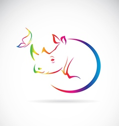 Rhino and butterfly vector