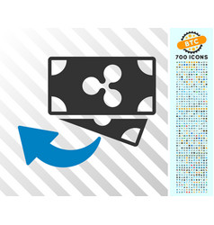 Ripple cashback flat icon with bonus vector