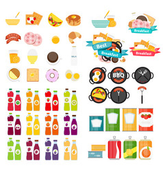 Set of food icons template in modern flat style vector