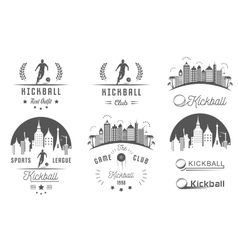 Set of kickball logo badges and emblems vector