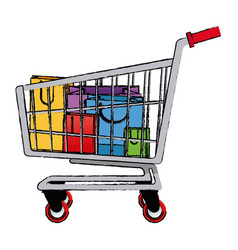 Shopping bags and shopping cart package market vector
