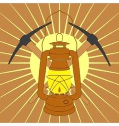 Vintage mine kerosene lamp with picks over yellow vector