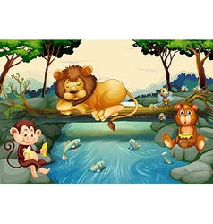 Wild animals on the river vector image