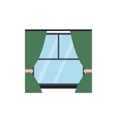 Window with curtains flat icon vector
