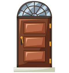 wooden door with curve window on top vector image vector image
