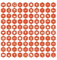 100 time icons hexagon orange vector image vector image