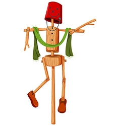 Wooden scarecrow with red bucket face vector