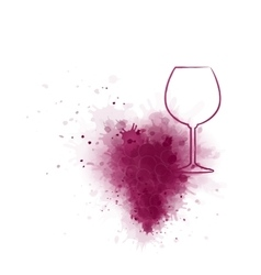 Red wine glass with grunge grape vector