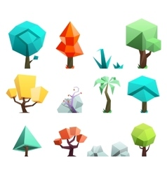 Low poly trees rocks grass icons set vector