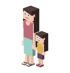 Lego silhouette with mother and daughter vector