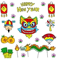Doodle of chinese celebration dragon lion costume vector