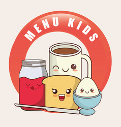 kids menu kawaii breakfast nutrition vector image