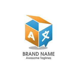 creative translation 3d box agency logo style vector image