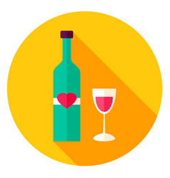 Lovely wine circle icon vector